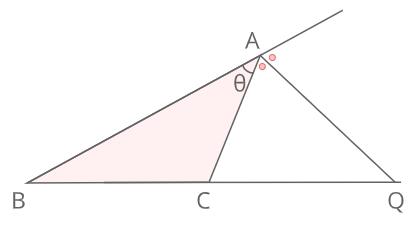 外角の二等分線と比証明2