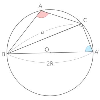 正弦定理証明(鈍角)